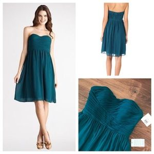 NWT Strapless Wrap Ruched Chiffon Dress Jade/Teal